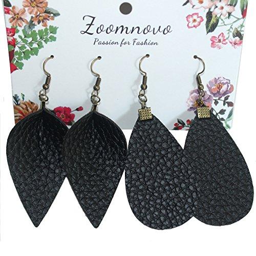 Black Leather Earrings for Women - Faux Large Leather Earrings Black Teardrop Earrings Black Leaf Drop Fringe ()