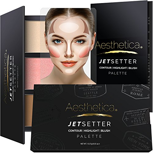 Aesthetica JetSetter Palette - All in One Highlighter, Blush and Contour Kit - Fair to Medium Skin Tones (Best Contour Palette For Oily Skin)
