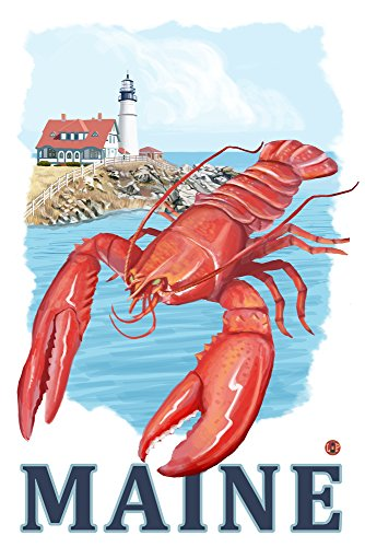 Portland Lighthouse (12x18 SIGNED Print Master Art Print w/ Certificate of Authenticity - Wall Decor Travel Poster) (Lobster Portland Maine)