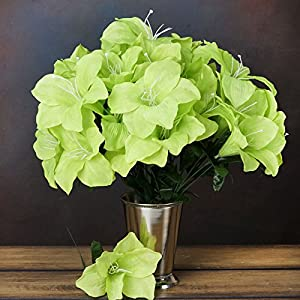 Efavormart 60 Easter Artificial Lilies for DIY Wedding Bouquets Centerpieces Arrangement Party Home Wholesale Supplies - Lime Green 39