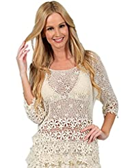 Cotton Natural Elegant Women Mesh Detail Embroidery Blouse Cover Up