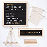 "ETHONS Felt Letter Board Super Pack - 2 Quality Letter Boards 12""x12"" & 12""x4"" - Personalize with 640 Characters in White & Gold - Gift-Ready Display Boards - Includes 2 Wood Stands and 2 Canvas Bags"