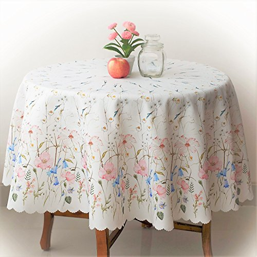 Floral Coloring Round Easter Tablecloth Non-iron Stain Resistant- Table Cover Perfect for Kitchen Dining Room or Restaurants Thanksgiving Christmas Dinner New Year (ECRU flowers, Round 70