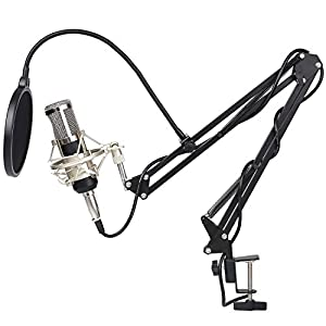 FIXKIT BM-800 Pro Condenser Microphone & Adjustable Mic Suspension Scissor Arm, Metal Shock Mount and Double-layer Pop Filter for Computer Studio Recording Broadcast