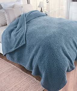 Soft King Size Sherpa Blanket in Slate