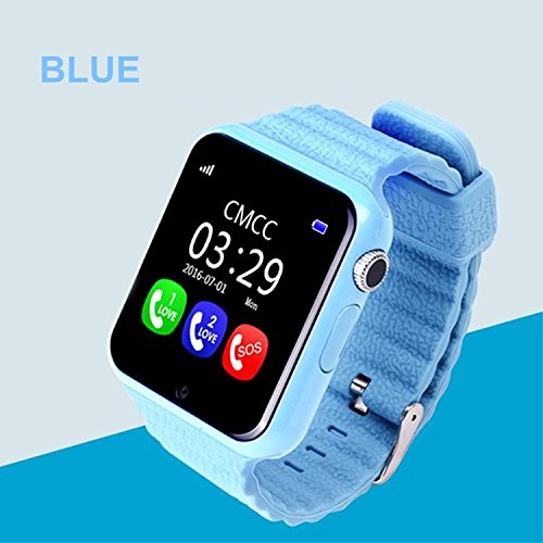 Smart Watch for Kids, GIZEE GPS Tracker Wrist Watch with Camera Anti-lost SOS Remote Monitor for Children Safety, Compatible with IOS Android iPhone Samsung etc. (Blue) by GIZEE