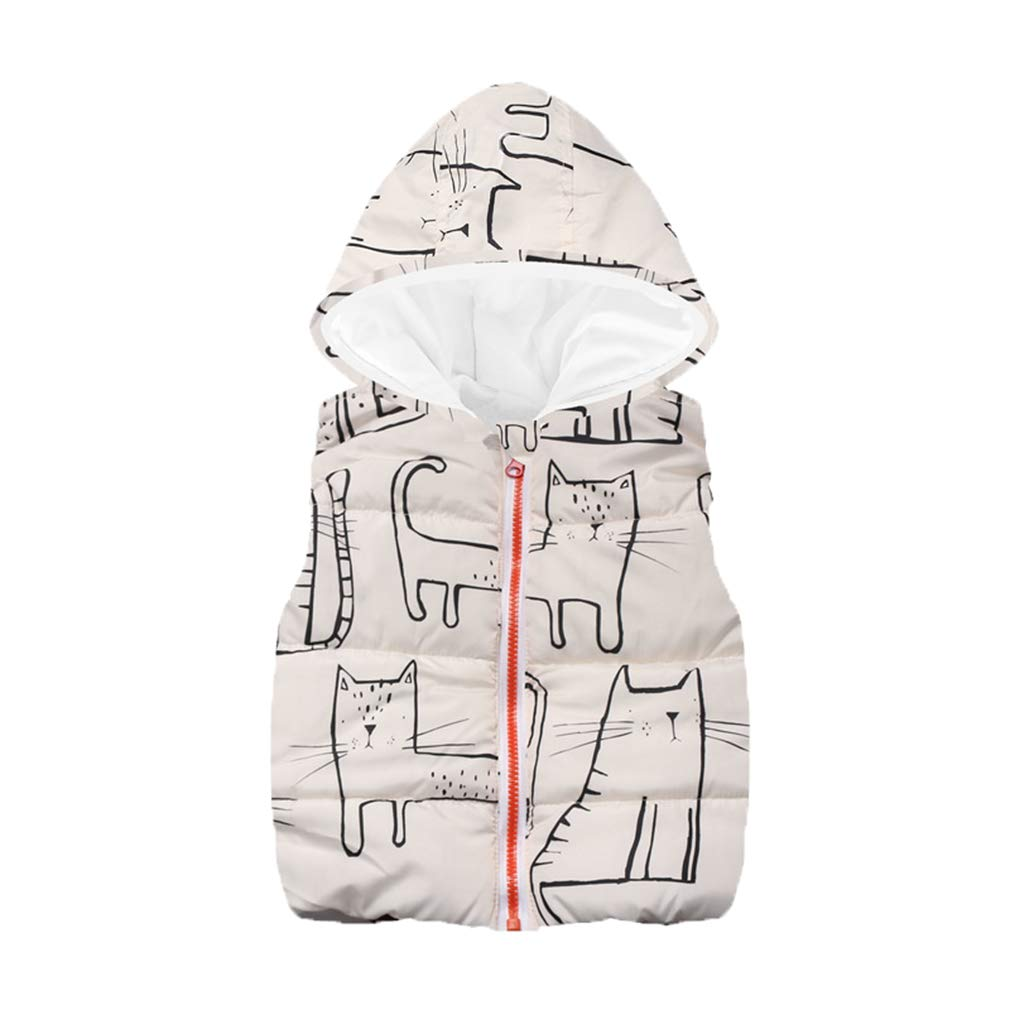 Hibote Autumn Winter Kids Waistcoats Boys Vest Cartoon Boy Girl Outerwear Hooded Jackets Vests Baby Boy Girl Warm Coat