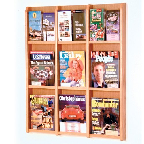 Wooden Mallet 9-Magazine/18-Brochure Divulge Wall Display with Brochure Inserts, Light Oak