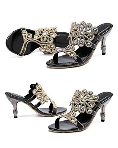 Honeystore Womens Flower Rhinestones Pumps Stiletto Heels Sandals Evening Shoes Black G8sFLWl73