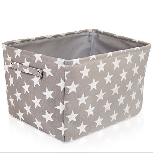 For the Love of Home Leisure Gray Star Canvas Storage Basket Box for Household Storage with White Stars. 16.5in x 12.5in x 7.5in