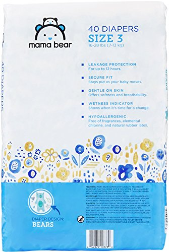 Large Product Image of Amazon Brand - Mama Bear  Diapers Size 3, 160 Count, Bears Print (4 packs of 40)