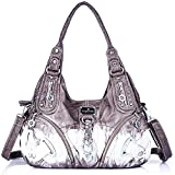 Handbag Hobo Women Bag Roomy Multiple Pockets Street ladies' Shoulder Bag Fashion PU Tote Satchel Bag for Women (11282Z grey)