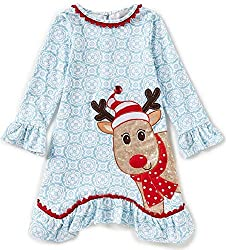 Girls Blue Sequin Rudolph Bishop Dress