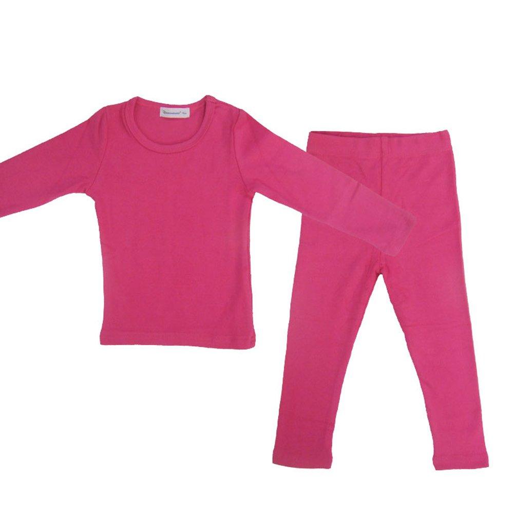SYCLZ Baby Boys Girls Cotton Long Sleeve Pajamas Set Soild Color Sleepwear PJS 3M-5T