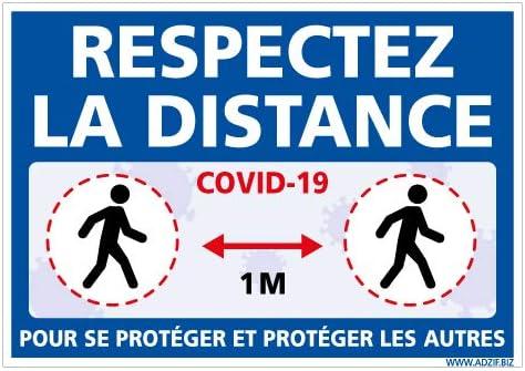 Gestes Barri/ère Covid19 Coronavirus Pr/évention Sanitaire Adh/ésif Distances de S/écurit/é de 1m Anti-UV Adzif.biz/® Dimensions 210 x 150 mm