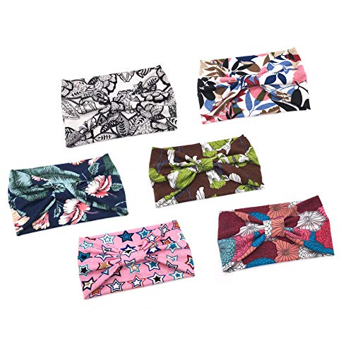 ransiy Women Floral Print Headbands Turban Knotted Headwraps Vintage Wide Yoga Hairbands