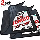 2 Pack Cat Litter Trapper by iPrimio - Litter Mat, EZ Clean Cat Mat, Litter Box Mat Water Proof Layer and Puppy Pad Option. Patent Pending. (32''x30'')(Jumbo, Black)