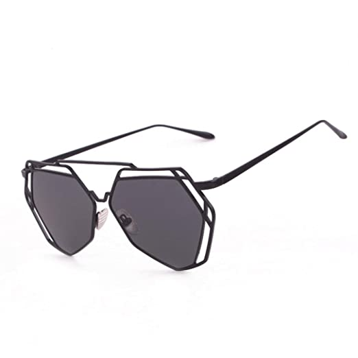 c6fd54436a0f Sumen Women Young Girls Summer Sunglasses Geometry Design Women Metal Frame  Mirror Glasses (Black)