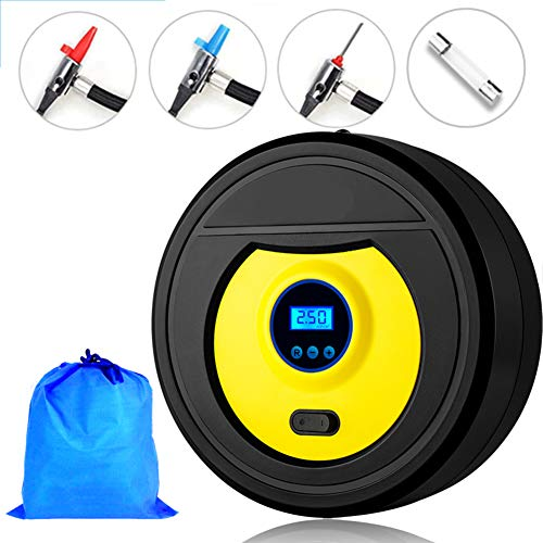 Trcode Portable Digital Car Tire Inflator 100 PSI 12V,Auto Air Tire Pump with Emergency Led Lighting and Long Cable 3 Meters,Car Air Compressor is Used for Car - Bicycle - Motorcycle - Basketball
