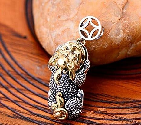 Handmade Retro 925 Silver Skull Keychain Pendant Necklace Classical