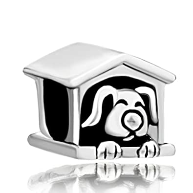 34abe45b5 Amazon.com: Dog Charms Cute Puppy Sleeping in Dog House Sale Cheap Jewelry  Beads Fit Pandora Charm Bracelets: Jewelry