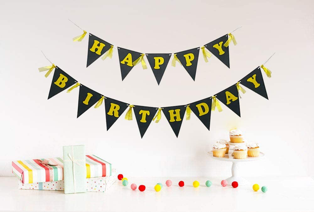Happy Birthday Banner Black Pennant with Golden Gauze Happy Birthday Banner Black Sign for Birthday Party Decorations