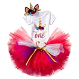 NNJXD Girl Unicorn Flowers Rainbow Tutu 1st ONE Birthday 3 Pcs Outfits Romper+Skirt+ Gold Headband Size (1) 1 Years Red