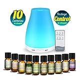 MEVA DIFUSOR de aceite aromas esencial aromaterapia con 10 esencias de REGALO, ULTRASONICO, 7 colores LED, humificador de aceite esencial (MULTICOLOR) (multicolor)