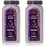 Zen Rituals Himalayan Bath Salt Set - With Organic Essential Oil Lavender, Bundle Pack 2 Bottles, 4.4 lbs