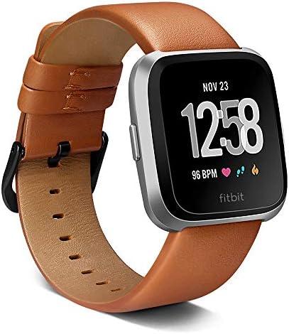 Valdeal Fitbit Versaバンド用 ソフトレザー 交換用 Versa/Versa 2 バンドストラップ フレームケース付き 男女兼用