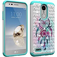 LG Aristo 2 Case,LG Zone 4/Fortune 2/Tribute Dynasty/Risio 3 Luxury Glitter Sparkle Bling Case,Studded Rhinestone Crystal Hybrid Dual Layer Armor Case for LG K8 2018 Blue Dream Catcher Mandala Flowers