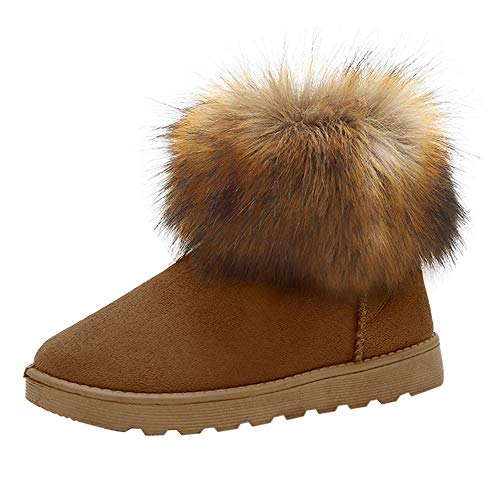 Clearance Sale Slip On Warm Fur Lined Boots,Aurorax Womens Slip On Warm Winter Shoes (Brown, US 7)