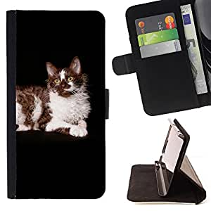 KingStore / Leather Etui en cuir / Samsung Galaxy Note 3 III / Ragdoll americana de pelo largo Curl Gato Negro