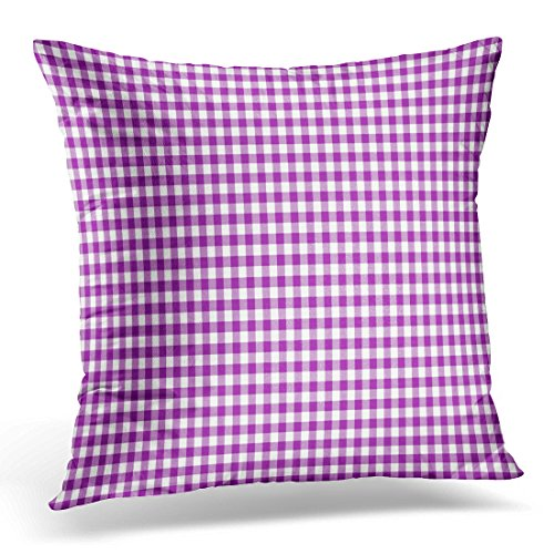 LUOLNN Throw Pillow Cover Colorful Linear Purple Gingham Pattern Retro Picnic Decorative Pillow Case Home Decor Square 20x20 Inches Pillowcase (Coral Colored Napkins Paper)