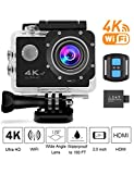 4K Sports Action Camera Wifi with Remote 98In Waterproof Case 2'' LCD HD 1080P Video Extreme Underwater Sport Cam Helmet Digital Camcorder for Biking Diving Motorcycle Drift With Mount Accessories