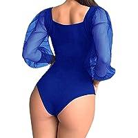 Mujer Sexy Body Elegante Fiesta Clubwear Bodysuit Leotardo Color sólido Mono Sexy de Manga Larga de Malla para Mujer