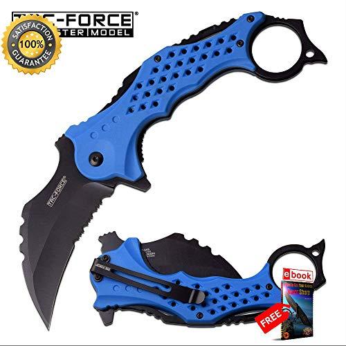 SPRING ASSISTED FOLDING Sharp KNIFE Tac-Force 3'' Black Serrated Blade Blue Karambit EDC Combat Tactical Knife + eBOOK by Moon Knives