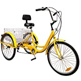 Areyourshop 24 Inch Adult Tricycle Series 6 Speed 3 Wheel Bike Adult Tricycle Trike Cruise Bike Large Size Basket for Recreation, Shopping, Exercise Men's Women's Bike, Yellow
