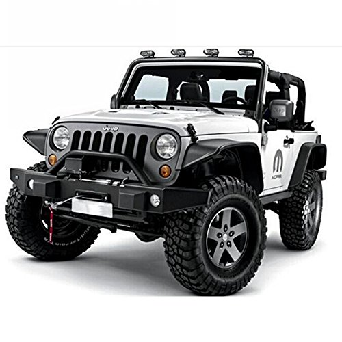 - U-Drive Auto New 4 PCS Textured Steel Flat Fender Flares -A Fit 2007-2018 Jeep Wrangler JK (Drilling Required)