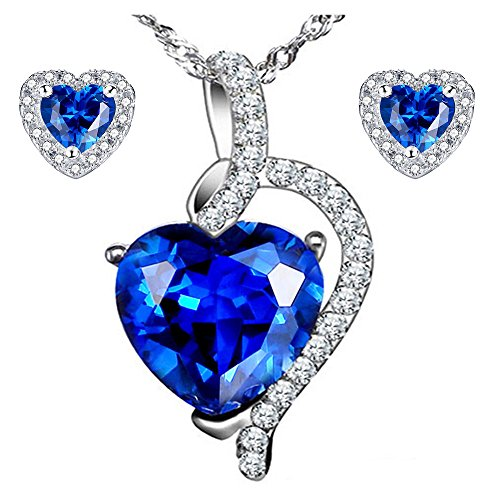 (MABELLA 5.10 CTW Simulated Blue Sapphire Pendant Necklace Stud Earrings Sterling Silver Jewelry Set for Women)
