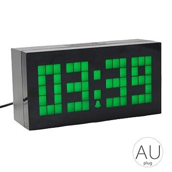 Alarma Mesa LED Digital del Reloj de Pared para Montar en los Grandes números del Temporizador de Lectura fácil la Temperatura del Calendario: Amazon.es: ...