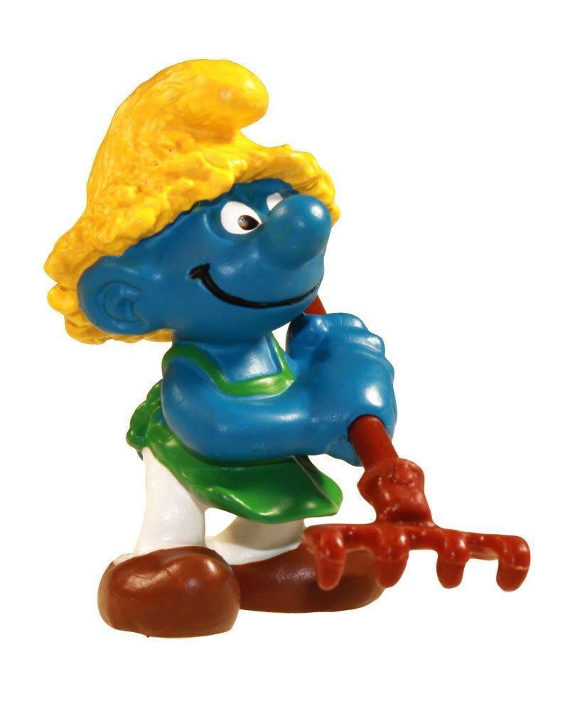 """Schleich Limited Edition 2"""" Gardener Smurf with Rake Figure"""