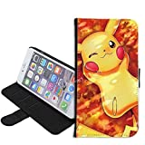 iPhone SE Case, iPhone 5s 5 Case, Pikachu Pokemon PU Leather Folio Flip Wallet Case Cover with ID Credit Card Holder with Stand for iPhone 5s/5/SE + Thewart_Eight® Stylus Pen (#008)