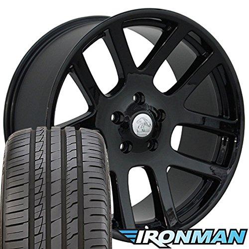 22x10 Wheels & Tires Fit Dodge, RAM Trucks - SRT Style Black Rims w/Ironman Tires, Hollander 2223 - ()