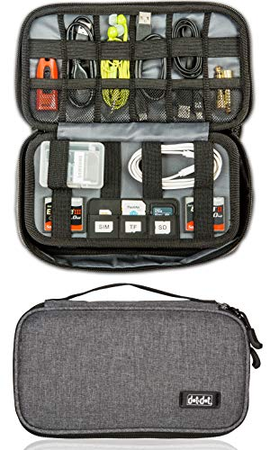 Electronics Organizer Travel Tech Case - Charge Cord, Slim Gadget, Charger Organizer Pouch Bag - Portable Cable Management Case