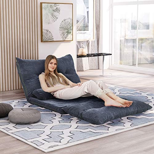 Floor Sofa Bed Adjustable Sleeper Bed Futon Bed Sofa Couches 5-Position Reclining Lazy Sofa with Two Pillows Blue-Gray