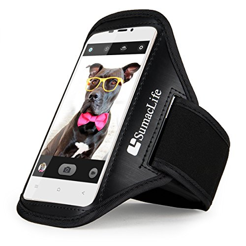 Brushed Black Workout Armband, SumacLife Sports Armband for BLU Vivo Air LTE Android Smartphone by ECCRIS