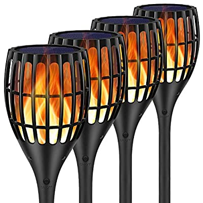Ollivage Solar Lights Outdoor - Flickering Flames Torch Solar Path Light - Dancing Flame Lighting 96 LED Dusk to Dawn Flickering Tiki Torches Outdoor Waterproof Garden, 4 Pack