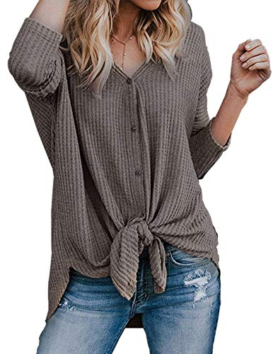Womens Waffle Knit Tunic Blouse Front Tie Knot Henley Tops Button Down Knitting Cardigan Batwing Plain Shirts Khaki S