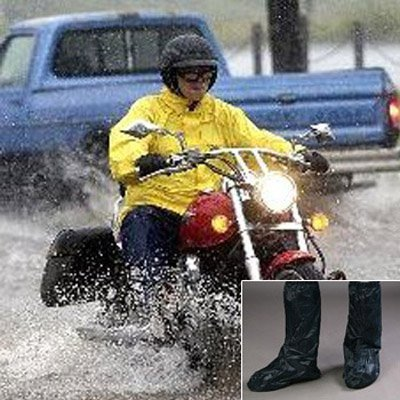 Waterproof Springtime Summer Rainstorm Rainy Day Rainsuit Raingear Motorcycle Road Bike Cruiser Chopper Driving Biker Gear Boot Shoe Cover with Side Zipper Black Adult Mens US 10-11 (Euro 44-45) by Astra Depot